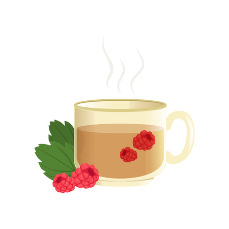 Hot herbal tea in a transparent cup with raspberry, remedy for colds vector illustration isolated on a white background. Illustration