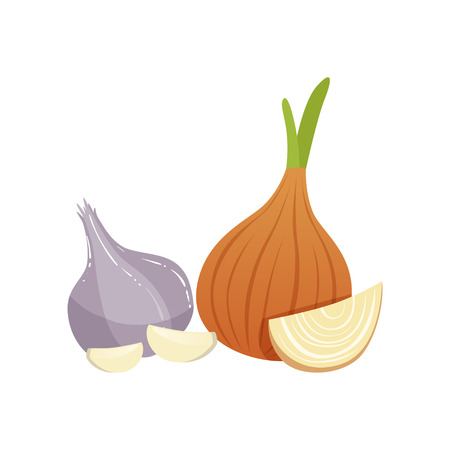 Garlic and onion bulbs, natural remedies for cold treatment vector Illustration on a white background