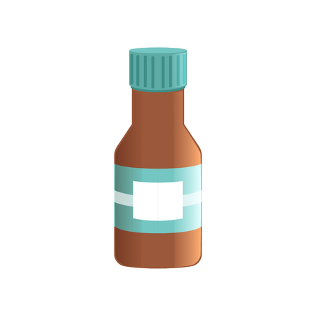 Liquid medicine in brown glass bottle vector illustration isolated on a white background.