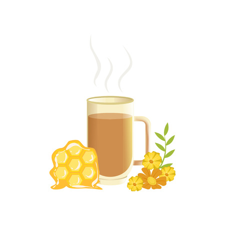 Hot herbal tea in a transparent cup with honey, remedy for colds vector illustration isolated on a white background. Illustration