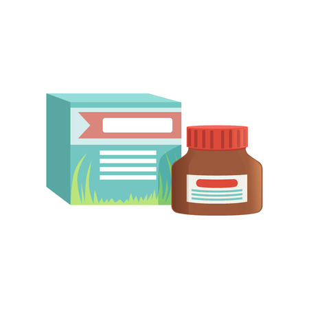 Small jar of ointment with box, remedy for cold treatment. Vector illustration isolated on a white background.