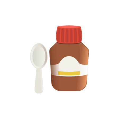 Cough medicine in brown glass bottle and spoon vector Illustration on a white background