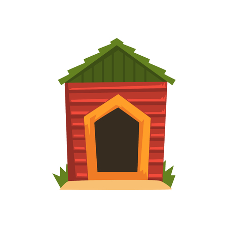 Red wooden doghouse with green roof vector Illustration on a white background