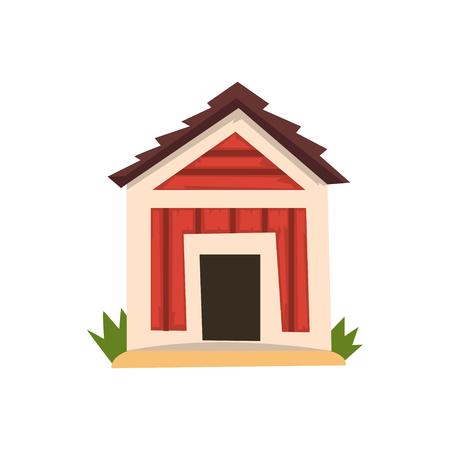 白い背景に赤い犬小屋ベクトルイラスト