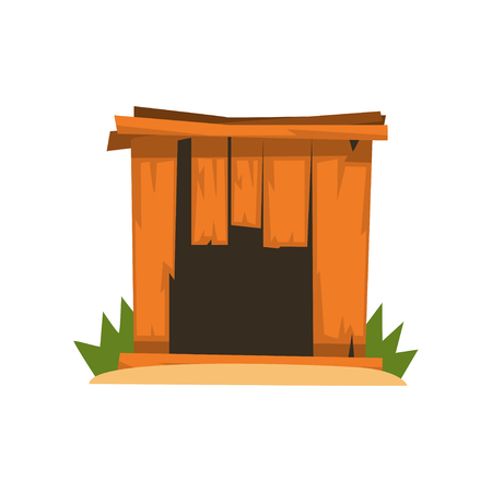 Old shabby wooden doghouse vector Illustration on a white background