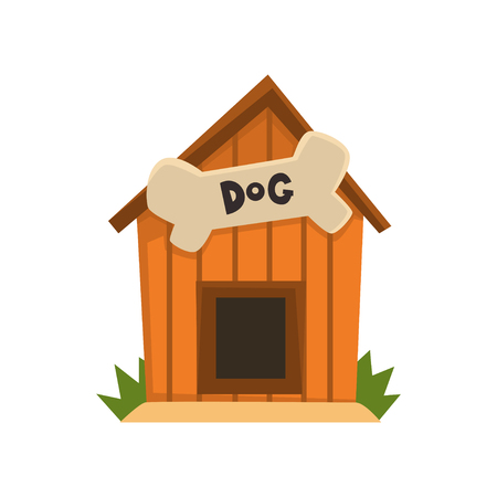 Wooden kennel with bone vector Illustration on a white background Çizim