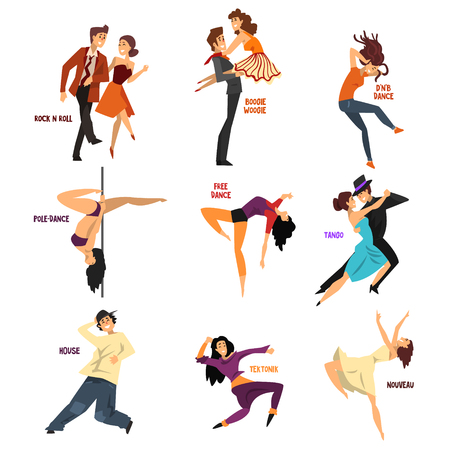 Professional dancer people dancing, young man and woman performing modern and classical dances vector Illustrations isolated on a white background.