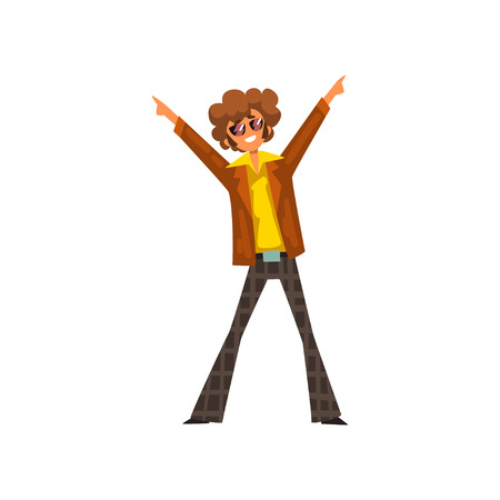 Man in 1980s style clothes dancing disco at music party vector Illustration on a white background