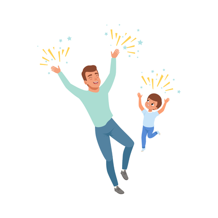 Smiling dad and son happily jumping, loving father and kid spending time together vector Illustration isolated on a white background.