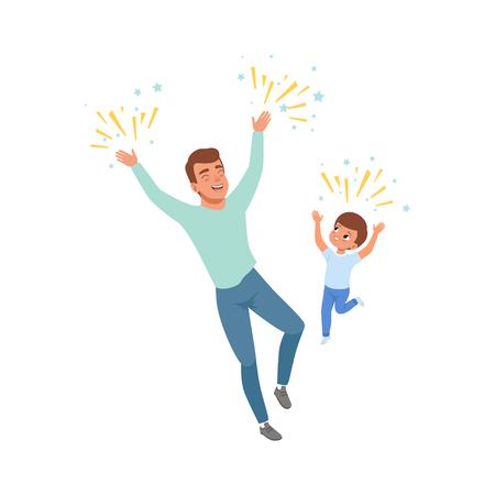 Lächelnder Vati und Sohn, die glücklich springen, liebevoller Vater und Kind, die zusammen Zeit verbringen, vector die Illustration, die auf einem weißen Hintergrund lokalisiert wird.
