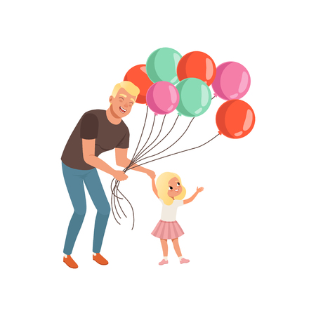 Smiling father and his little daughter with bunch of balloons, loving daddy and kid spending time together, dad and his child celebrating Fathers Day vector Illustration isolated on a white background.