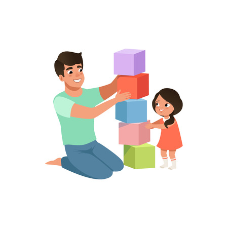 Smiling dad playing cubes with his daughter, loving father and kid spending time together vector Illustration isolated on a white background.