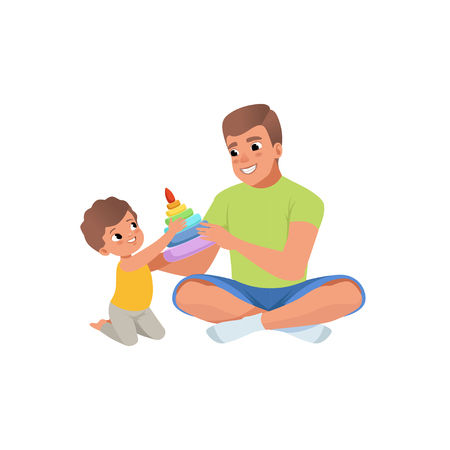 Loving father and his son playing with humming top enjoying time together vector Illustration isolated on a white background.