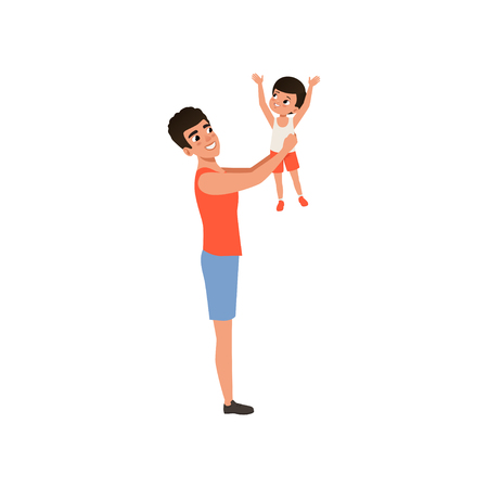 Happy father holding his son in his arms, loving father and kid spending time together vector Illustration isolated on a white background. Banque d'images - 96705769