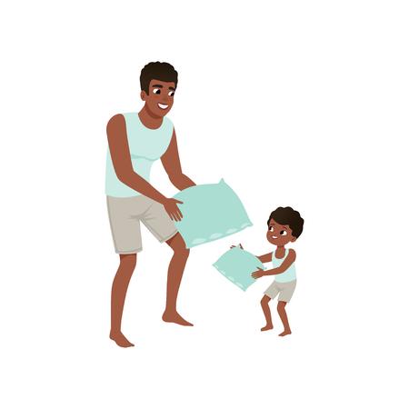 お父さんと息子は枕を再生し、愛するお父さんと子供は一緒に時間を過ごすベクトルイラストは、白い背景に隔離されています。