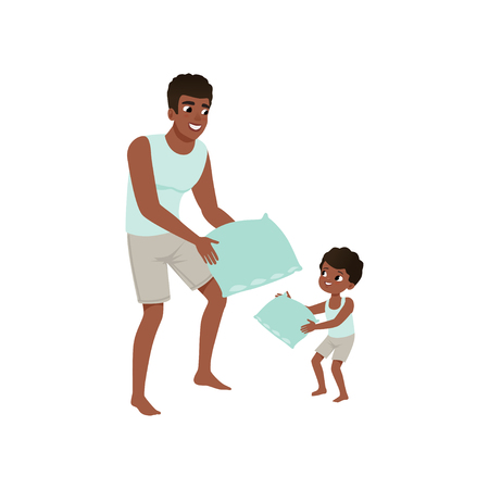 Dad and son playing pillow, loving dad and kid spending time together vector Illustration isolated on a white background. Ilustração
