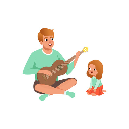 Father playing guitar music to his daughter, loving dad and kid spending time together vector Illustration isolated on a white background. Иллюстрация