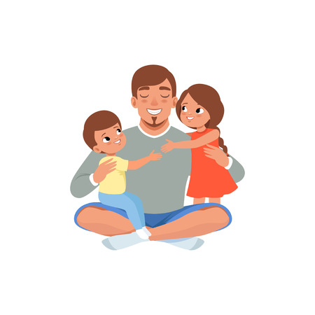 Happy father with his two children , loving dad and kid spending time together vector Illustration isolated on a white background.
