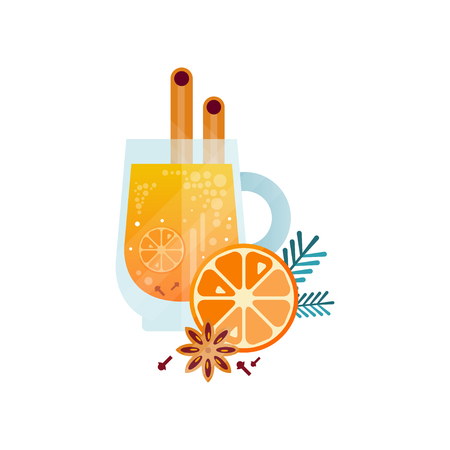 Vitamin healthy herbal tea, spicy drink with orange, cinnamon, anise and rosemary in transparent cup vector Illustration on a white background