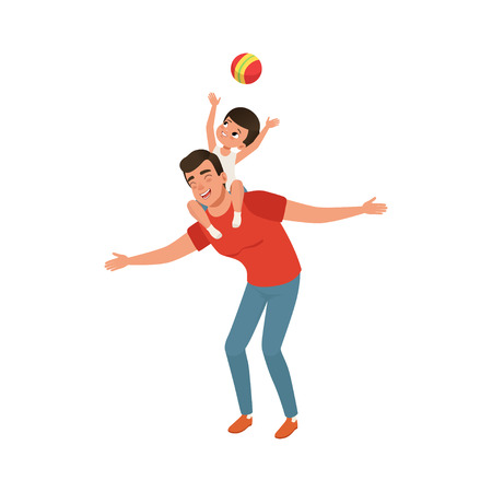 Boy playing ball while sitting on daddys shoulders, loving father and kid spending time together vector Illustration isolated on a white background. Banco de Imagens - 96705777