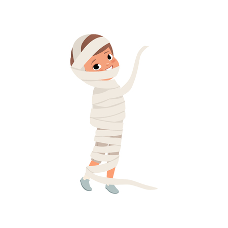 Cute little kid wrapped in bandages, boy in the costume of the Egyptian mummy, zombie suit vector Illustration isolated on a white background. Çizim