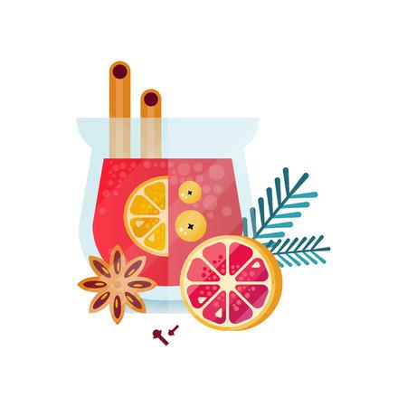 비타민 건강 허브 차, 감귤류 과일, 계피, 아니스, 로즈마리, 카네이션 흰색 배경에 투명 찻잔 벡터 일러스트와 함께 매운 음료