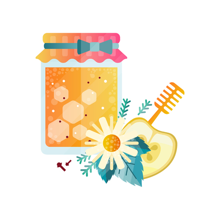 Jar of honey, apple, chamomile and spices vector Illustration on a white background.