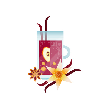 Vitamin healthy herbal tea, spicy drink with apple, vanilla and anise in transparent cup vector Illustration isolated on a white background. Banco de Imagens - 96706847