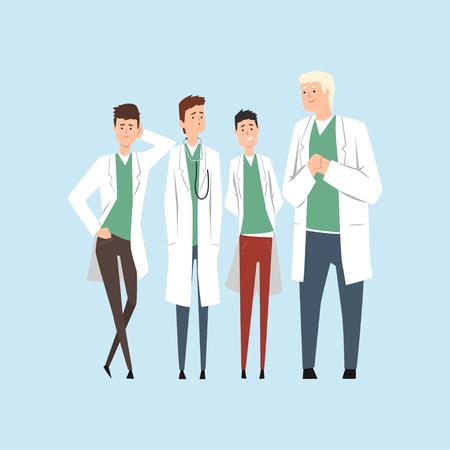 Lächelnde Doktoren team, die Krankenhausangestellten, die zusammen Vektor Illustration auf einem hellblauen Hintergrund stehen