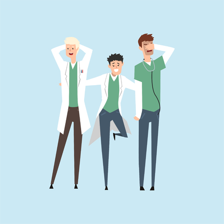 Three smiling doctors, hospital workers standing together vector Illustration on a light blue background.