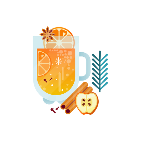 Vitamin healthy herbal tea, spicy drink with citrus fruits, apple, cinnamon and rosemary in transparent mug vector Illustration on a white background Illustration