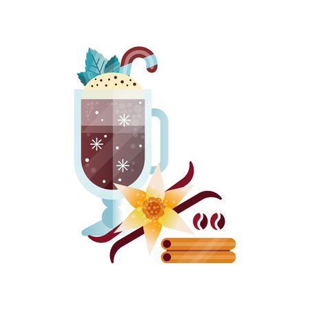Fragrant coffee drink with whipped cream, vanilla and cinnamon in glass cup vector Illustration on a white background Vettoriali
