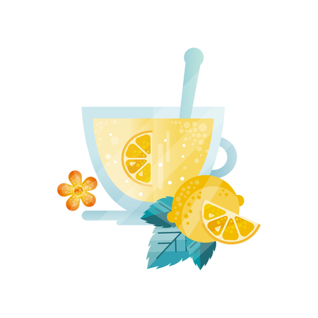 Vitamin healthy herbal tea, drink with lemon and mint in glass cup vector Illustration on a white background Illustration