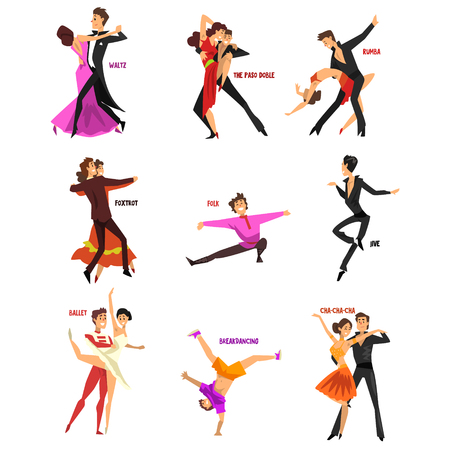 Professional dancer people dancing, young man and woman dressed in elegant clothing performing dances vector Illustrations isolated on a white background.