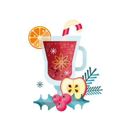 Vitamin healthy herbal tea, spicy drink with orange, apple, cranberry and rosemary in transparent mug vector Illustration on a white background Ilustracja