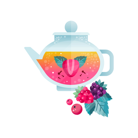 Fruit tea, vitamin healthy drink with cranberry, raspberry, blackberry, strawberry and mint in transparent kettle vector Illustration on a white background Illustration