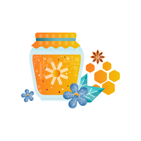 Jar of honey, flowers and spices vector Illustration on a white background