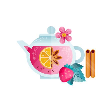 과일 차, 딸기, 꽃과 흰색 배경에 유리 주전자 벡터 일러스트 레이 션에 향신료와 비타민 건강 음료