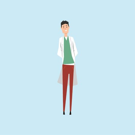 Smiling male doctor character vector Illustration on a light blue background
