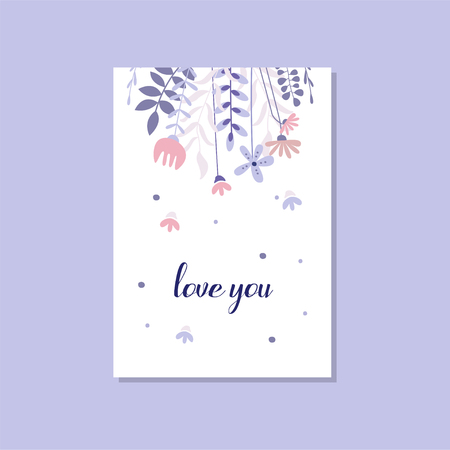 Romantic greeting card with the inscription Love you, trendy postcard for Valentines day, birthday, anniversary, invitation vector Illustration, elegant design element with decorative flowers