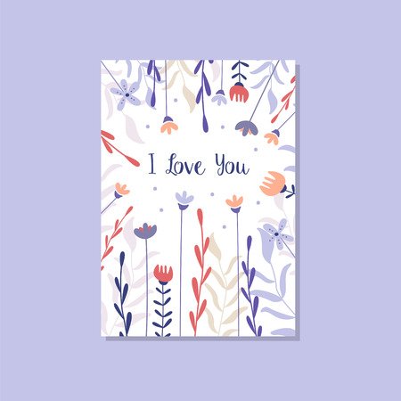 Romantic greeting card with the inscription I love you, trendy postcard for Valentines day, anniversary, invitation vector Illustration, elegant design element with decorative flowers Ilustracja
