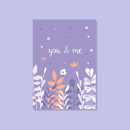 Romantic greeting card with the inscription You and me, trendy postcard for Valentines day, anniversary vector Illustration, elegant design element with decorative flowers Zdjęcie Seryjne - 96858626