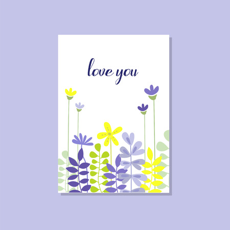 Romantic greeting card with the inscription Love you, trendy elegant postcard vector Illustration, design element with decorative flowers Ilustracja