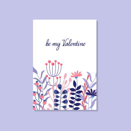 Romantic greeting card with the inscription Be mine Valentine, trendy elegant postcard vector Illustration, design element with decorative flowers Ilustração