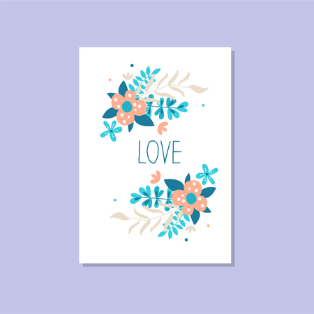 Romantic greeting card with the inscription Love, trendy elegant postcard vector Illustration, design element with decorative flowers