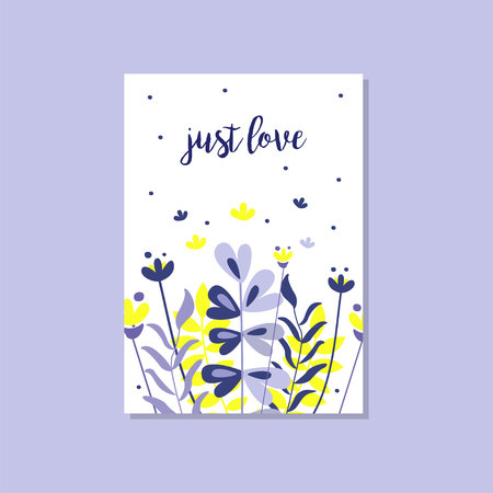 Romantic greeting card with the inscription Just love, trendy elegant postcard vector Illustration, design element with decorative flowers for banner or poster.
