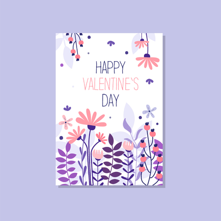 Romantic greeting card with the inscription Happy Valentines day, trendy elegant postcard vector Illustration, design element with decorative flowers for banner or poster. Ilustracja
