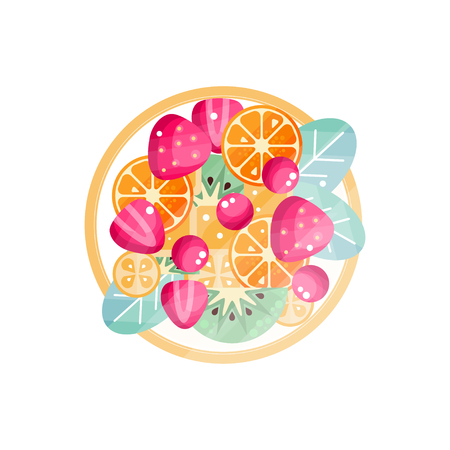 Various fresh fruits and berries on a plate vector Illustration isolated on a white background.