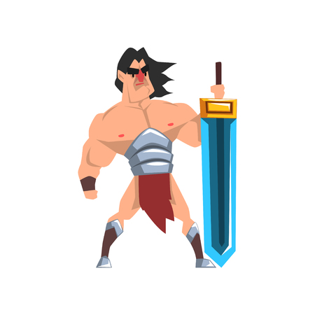 Powerful hero with luminous sword, fantasy character vector Illustration isolated on a white background.
