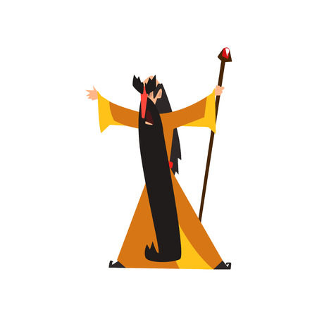 Wizard holding a magic staff, fantasy magical character vector Illustration isolated on a white background. Illustration